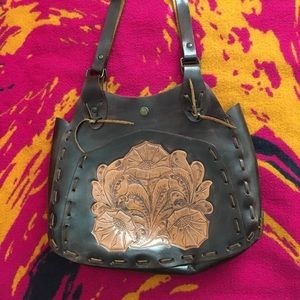 Vintage Bags - 70's tooled leather purse vintage leather handbag